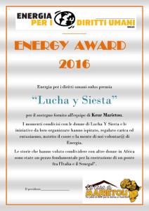 ENERGY AWARD Lucha y Siesta